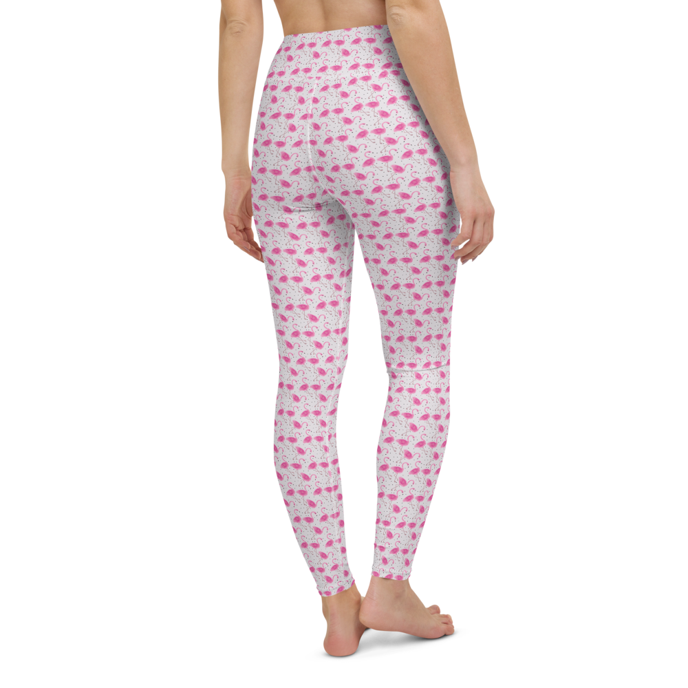 Yoga Pants & High Waist Leggings - Flamingo Field | TopGurl Workout Printed Activewear Athleisure - TOPGURL