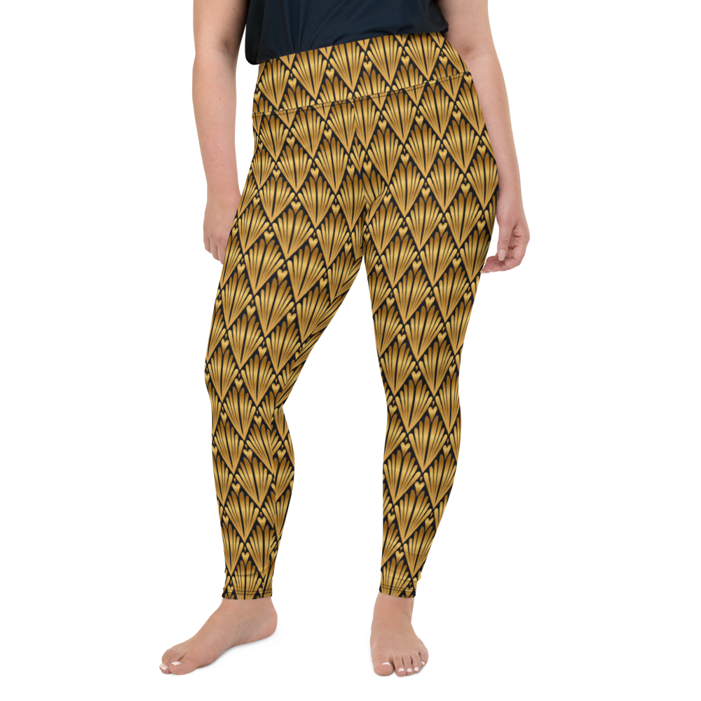 Plus Size Leggings & Yoga Pants - Gold Drip | TopGurl High Waist Workout Printed Activewear Athleisure - TOPGURL