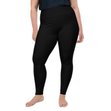 Plus Size Leggings & Yoga Pants - Deep Black | TopGurl High Waist Workout Printed Activewear Athleisure - TOPGURL