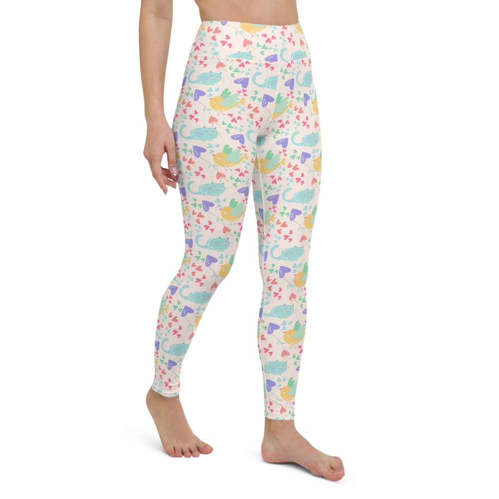 Yoga Pants & High Waist Leggings - Love Valentine Cats | TopGurl Workout Printed Activewear Athleisure - TOPGURL