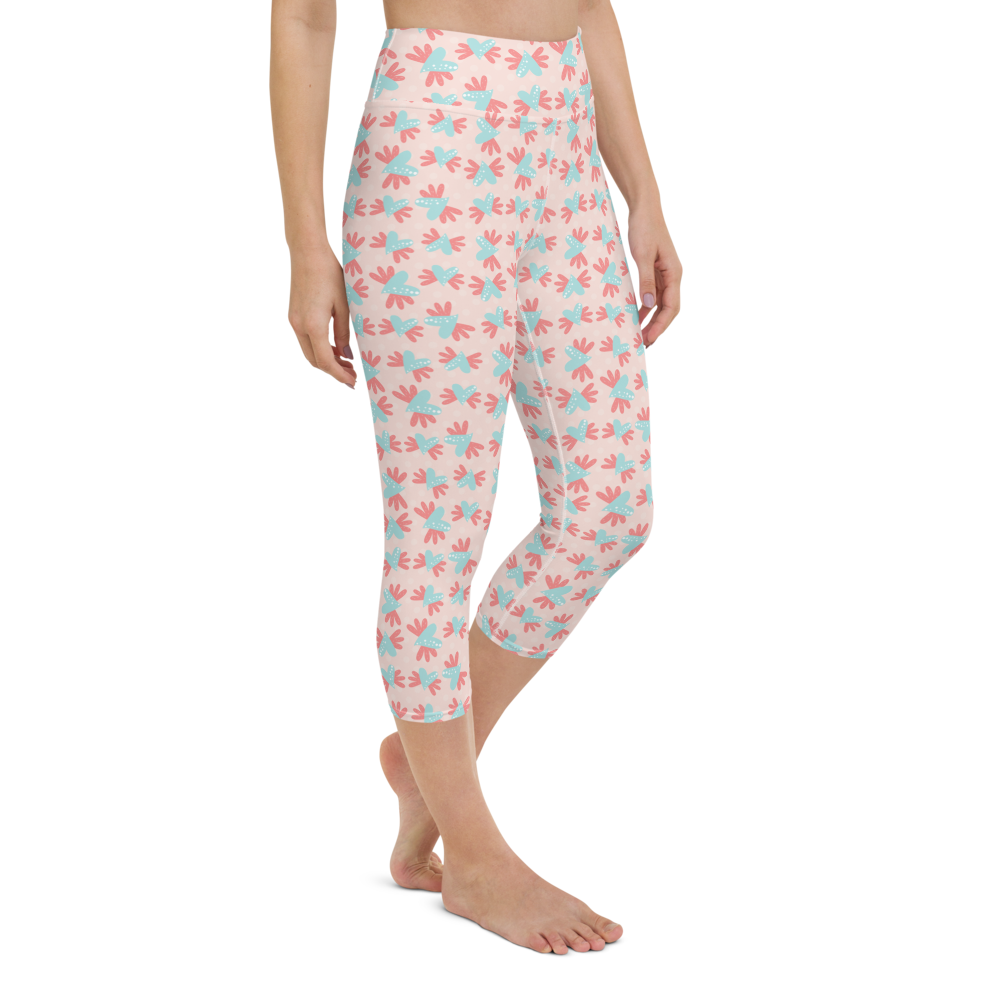 Capri Yoga Pants & High Waist Leggings - Hearts on Pink | TopGurl Workout Printed Activewear Athleisure - TOPGURL