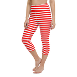 Capri Yoga Pants & High Waist Leggings - Red & White Stripes | TopGurl Workout Printed Activewear Athleisure - TOPGURL