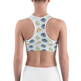 Sports Bra - Fish World | Activewear | TopGurl Printed Athleisure - TOPGURL