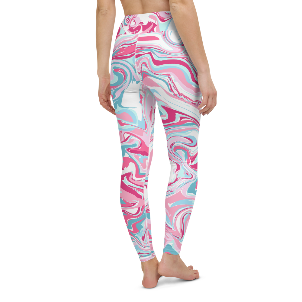 Yoga Pants & High Waist Leggings - Pink Marble Pattern | TopGurl Workout Printed Activewear Athleisure - TOPGURL