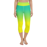 Capri Yoga Pants & High Waist Leggings - Green & Yellow | TopGurl Workout Printed Activewear Athleisure - TOPGURL