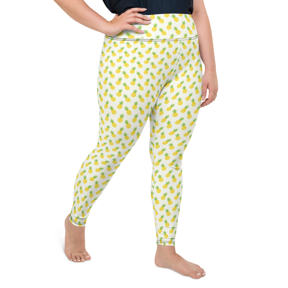 Plus Size Leggings & Yoga Pants - Pineapple Field | TopGurl High Waist Workout Printed Activewear Athleisure - TOPGURL