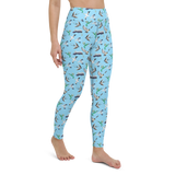 Yoga Pants & High Waist Leggings - Birds Of All Feathers Teal | TopGurl Workout Printed Activewear Athleisure - TOPGURL