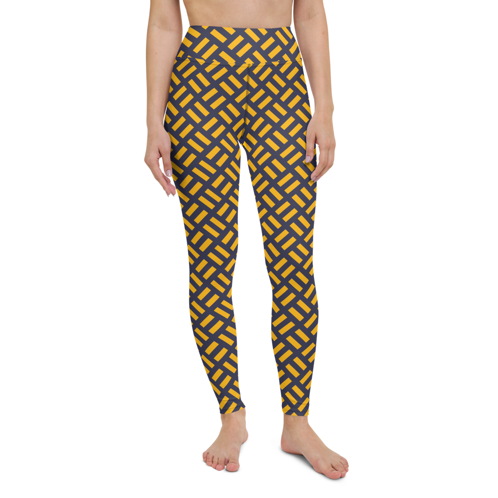 Yoga Pants & High Waist Leggings - Yellow Grid | TopGurl Workout Printed Activewear Athleisure - TOPGURL
