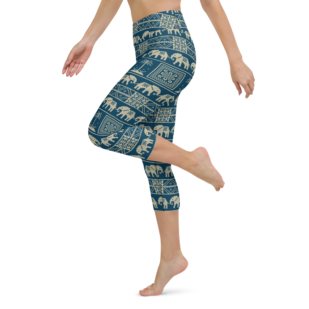 Capri Yoga Pants & High Waist Leggings - Ethnic Teal | TopGurl Workout Printed Activewear Athleisure - TOPGURL