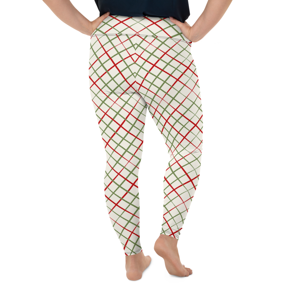 Plus Size Leggings & Yoga Pants - Red & Green Pattern | TopGurl High Waist Workout Printed Activewear Athleisure - TOPGURL