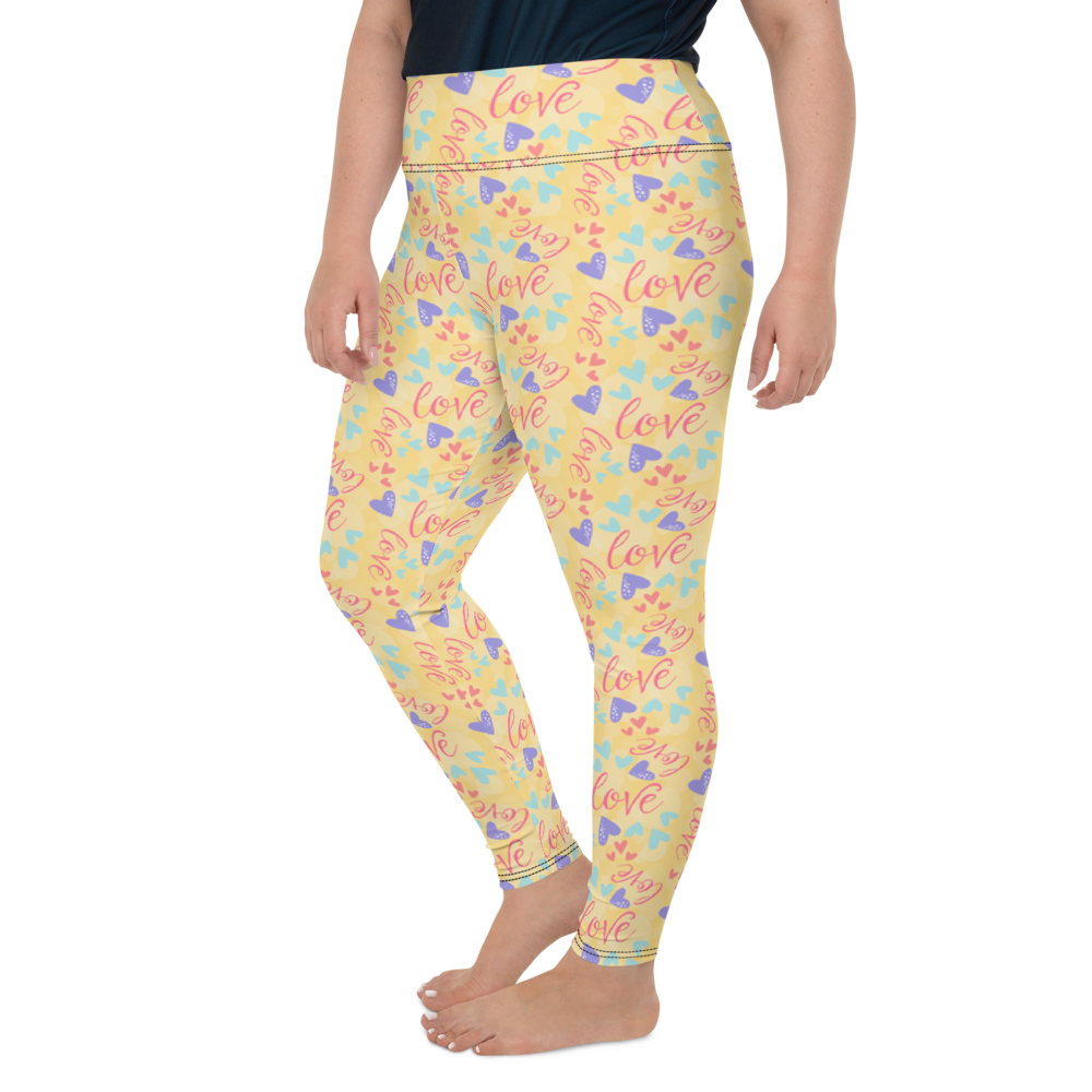 Plus Size Leggings & Yoga Pants - All You Need Is Love | TopGurl High Waist Workout Printed Activewear Athleisure - TOPGURL