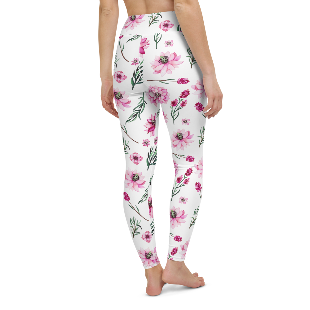 Yoga Pants & High Waist Leggings - Floral Lillies | TopGurl Workout Printed Activewear Athleisure - TOPGURL