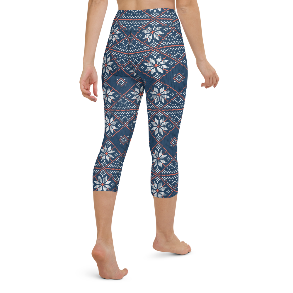 Capri Yoga Pants & High Waist Leggings - Floral Knit Pattern | TopGurl Workout Printed Activewear Athleisure - TOPGURL