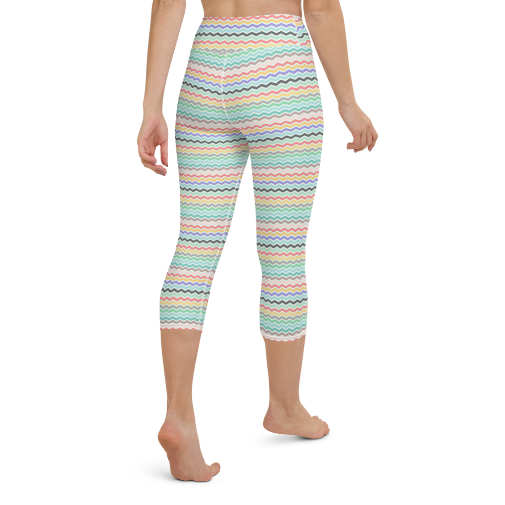 Capri Yoga Pants & High Waist Leggings - Curly Stripes | TopGurl Workout Printed Activewear Athleisure - TOPGURL