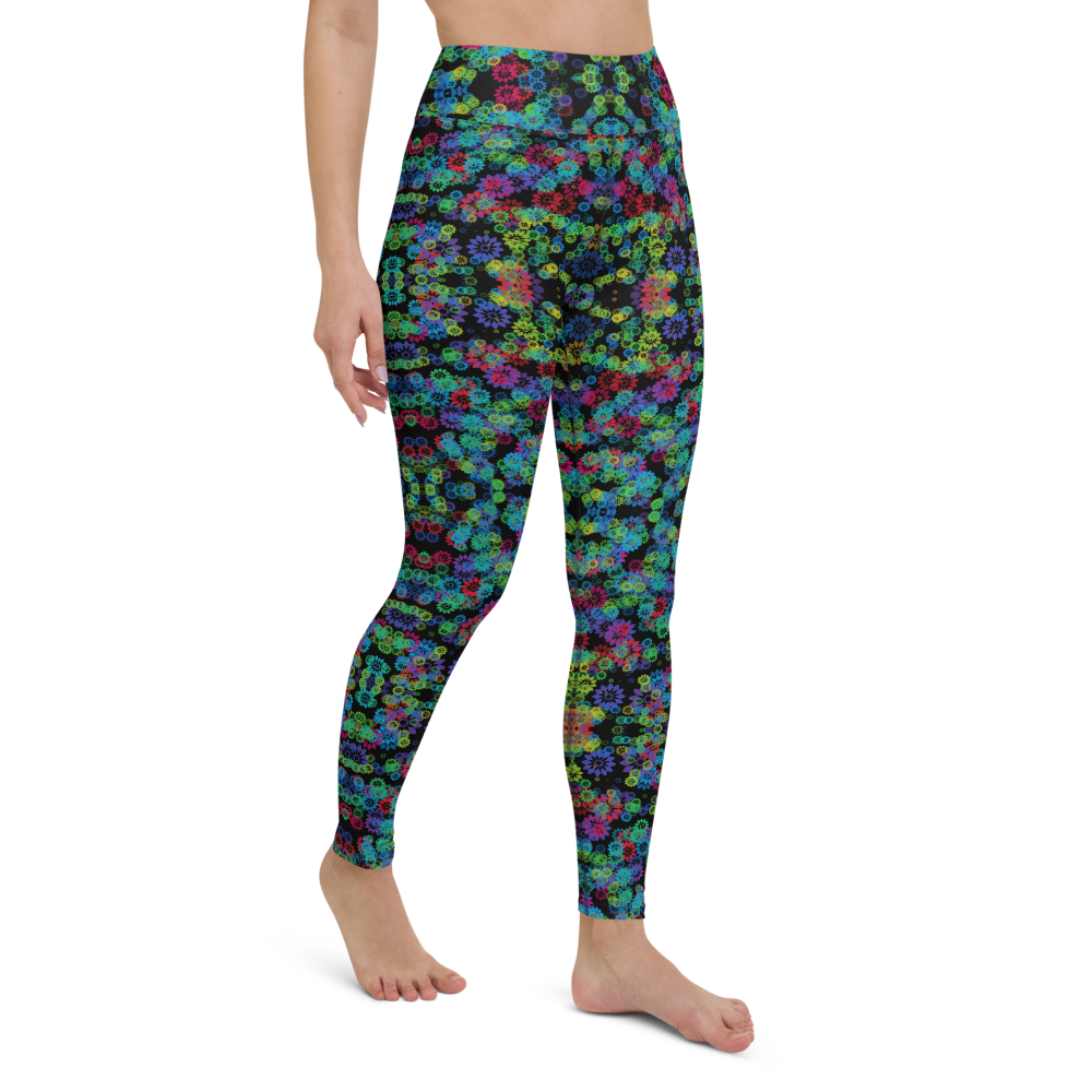 Yoga Pants & High Waist Leggings - Psychedelic Garden 2 | TopGurl Workout Printed Activewear Athleisure - TOPGURL