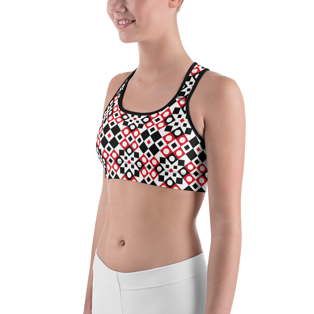Sports Bra - Squares And Circles | Activewear | TopGurl Printed Athleisure - TOPGURL