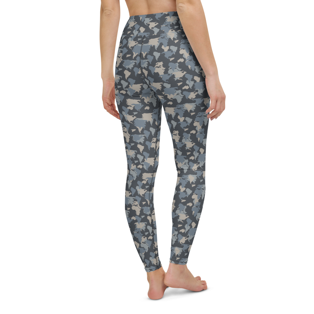 Yoga Pants & High Waist Leggings - Army Camo Continents | TopGurl Workout Printed Activewear Athleisure - TOPGURL