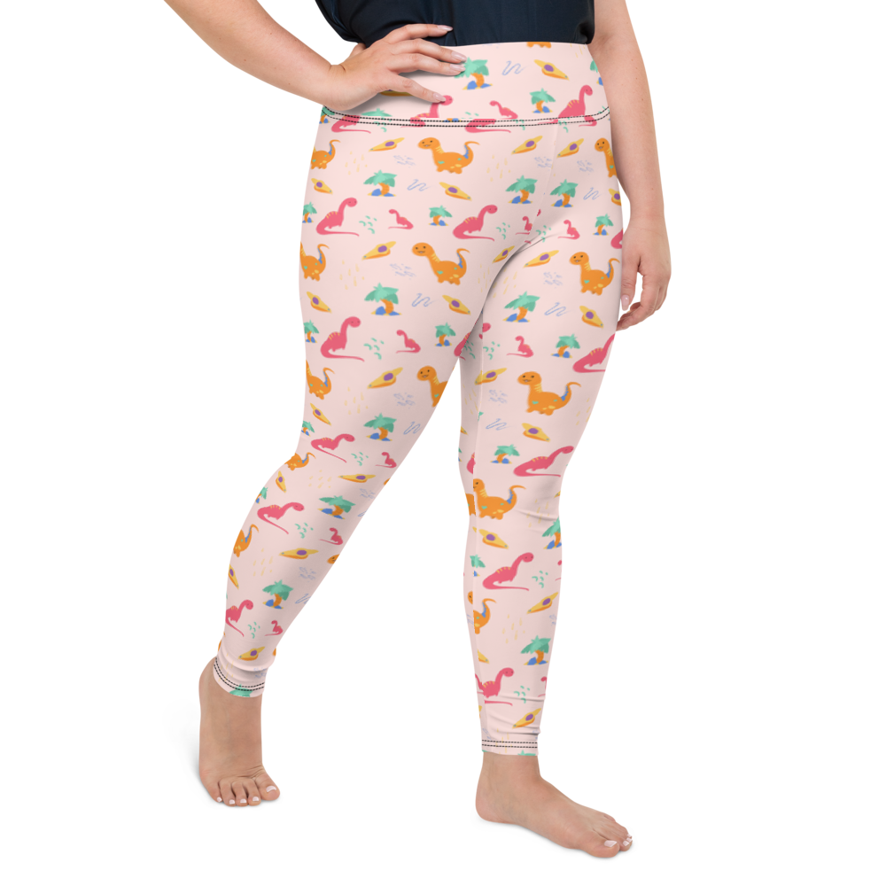 Plus Size Leggings & Yoga Pants - Cute Dinos | TopGurl High Waist Workout Printed Activewear Athleisure - TOPGURL