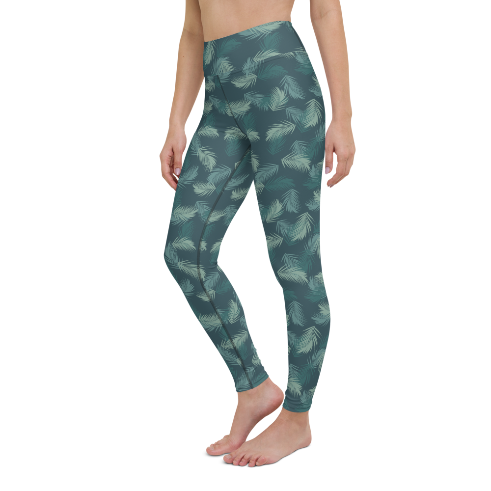 Yoga Pants & High Waist Leggings - Army Camo Feather | TopGurl Workout Printed Activewear Athleisure - TOPGURL