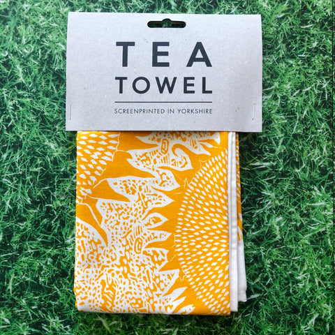 Hand Printed Sunflower Teatowel
