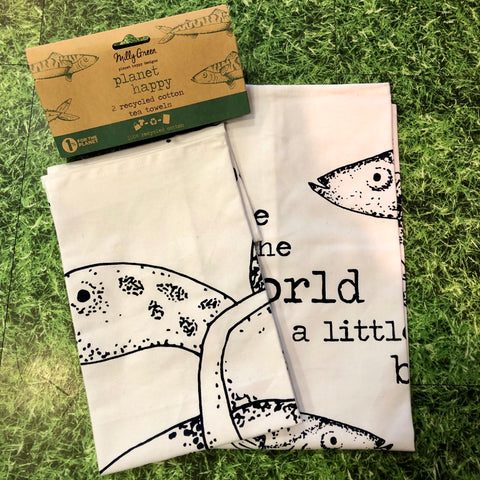 Milly Green Ocean Recycled Tea Towel Set