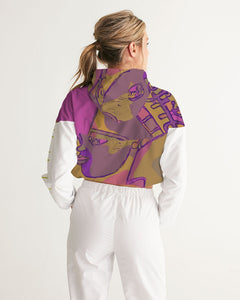 Purple Power Women's Cropped Windbreaker Hoodie
