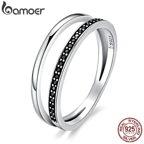 BAMOER Genuine 925 Sterling Silver Double Circle Black Clear CZ Stackable Finger Ring
