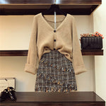 2- Piece 2019 Autumn Winter Woman's V-necked Cardigan Knitted Coat + High-waisted Tweed Skirt