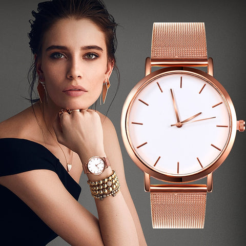 Women Simple Romantic Rose Gold Watch