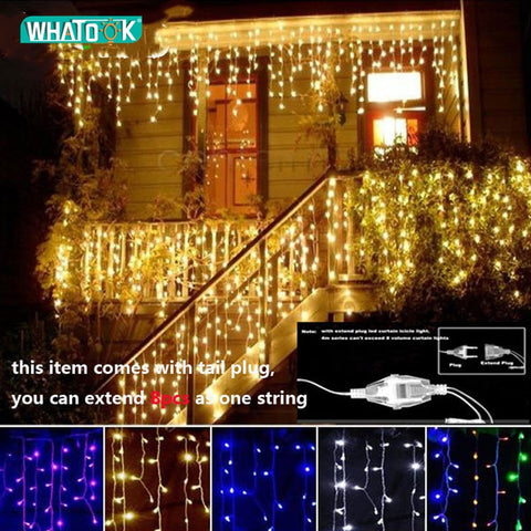 Christmas Garland LED Curtain Icicle String Lights