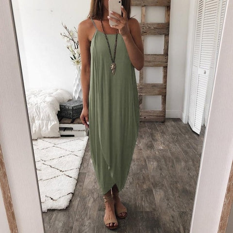 KANCOOLD dress Women Summer Loose Straps Sleeveless Dress