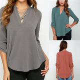Autumn Women V-neck Chiffon Blouse 3/4 Sleeve