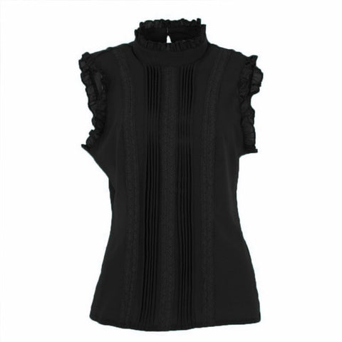 2019 Summer Style Vogue Women Ruffle Sleeve Neck Slim Fitted Shirts