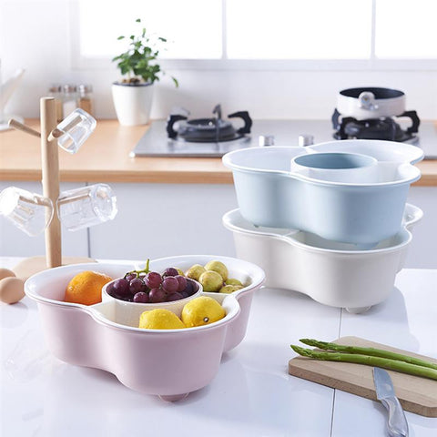 1PC Household Drain Storage Basket Hot Pot Vegetable Draining Basket Holder Kitchen Plastic Double-layer Fruit Basket for Home