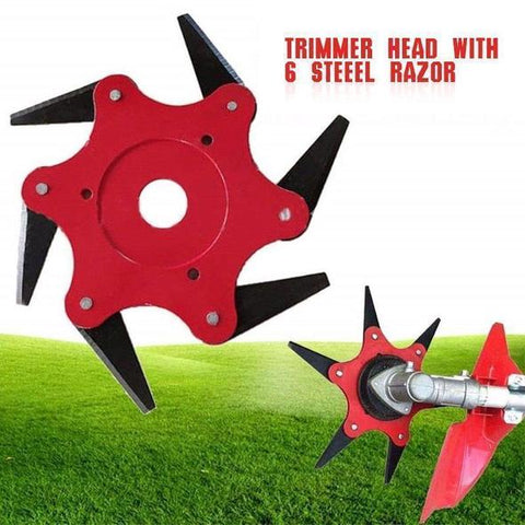 6 Teeth Brush Cutter Blade Trimmer Head 26mm/28mm Trimmer Gearbox Strimmer Gearhead and Metal Garden Grass Trimmer Head
