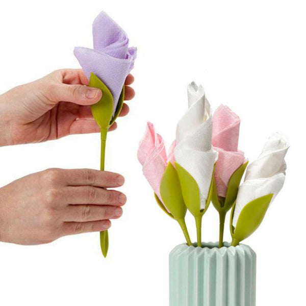 4pcs Creative Rose Napkin Paper Rack For Diner Wedding Party Napkin Paper Holder Table Decoration Gadgets