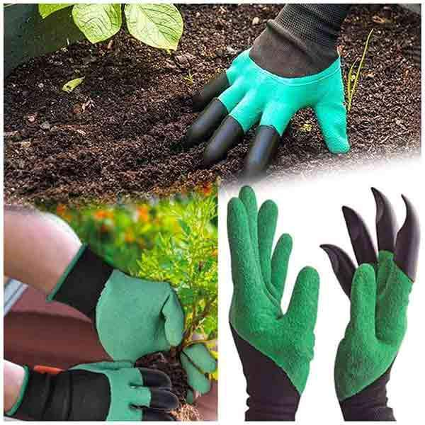 8 Hand Claw ABS Plastic Garden Rubber Gloves Gardening Digging Planting Durable Waterproof Work Glove Outdoor Gadgets