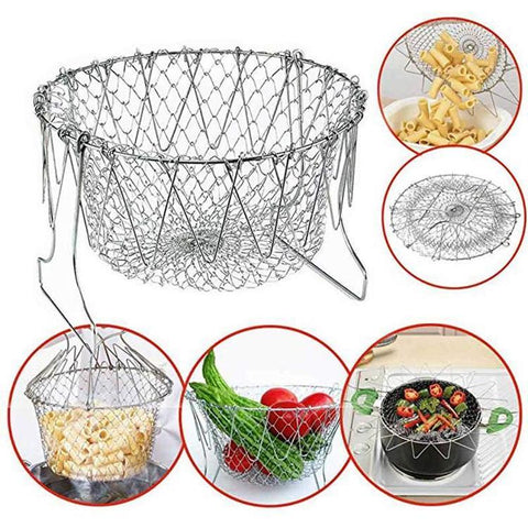 FOLDABLE STEAM RINSE & STAINLESS STEEL FOLDING FRYING BASKET