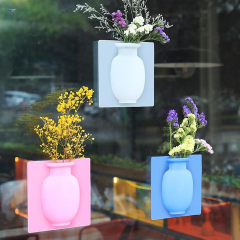 Wall Hanging Rubber Floret Bottle Silicone Vase Container Magic Sticker On Glass Wall Flower Pots