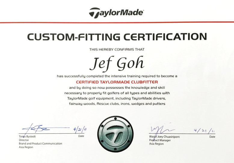 TaylorMade Official Club Fitter Certificate