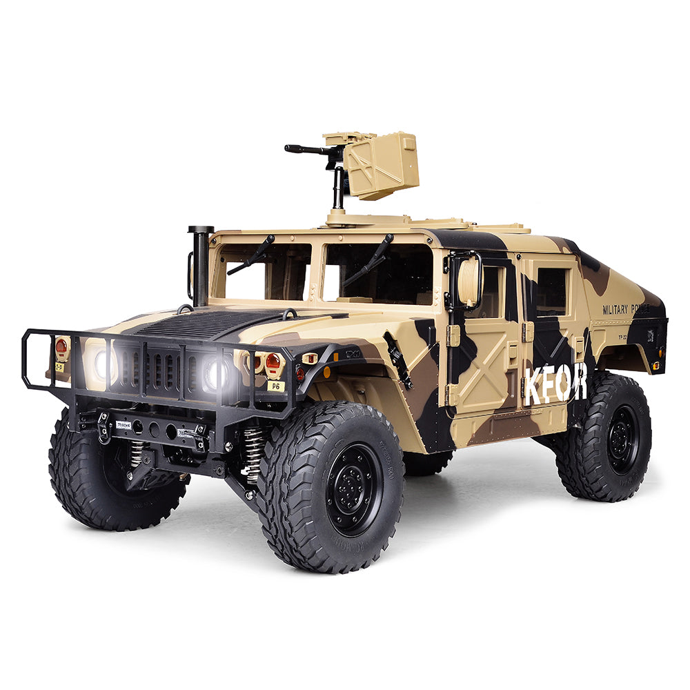 HG P408 Upgraded Light Sound 1/10 2.4G 4WD RC Car U.S.4X4 Military Vehicle Truck w/o Battery Charger in Camouflage Yellow Color