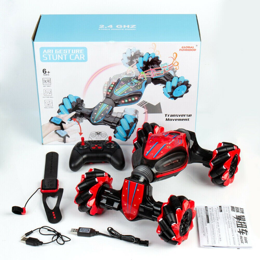 2.4GHz Gesture Sensing Twisting RC Cars Watch Remote Control Stunt Car Gesture Sensing Twisting Vehicledrift Car Driving Toys