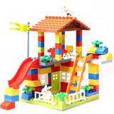 Big Size Slide Blocks Compatible LegoINGlys Duploed City House Roof Big Particle Building Blocks Castle Brick Toys For Children (No original box)