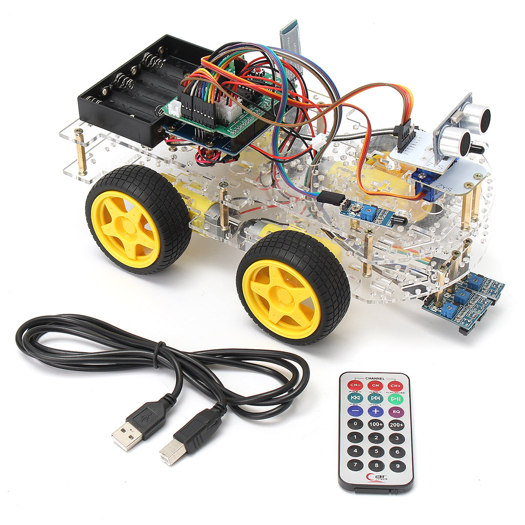 4WD Programmable Smart Robot Car Starter Kit With Remote Control for Beginner DIY