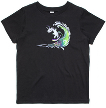 Load image into Gallery viewer, Surfing Unicorn - Kids & Youth T-Shirt - Black