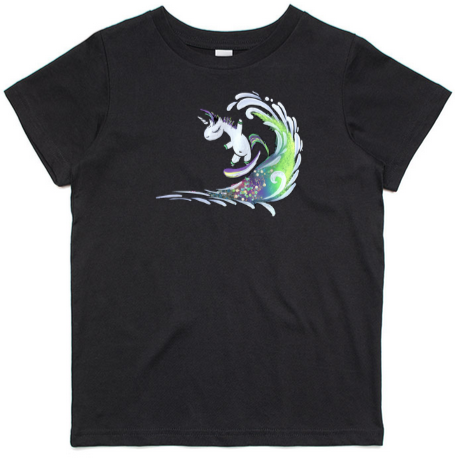 Surfing Unicorn - Kids & Youth T-Shirt - Black