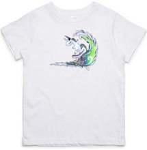 Load image into Gallery viewer, Surfing Unicorn - Kids & Youth T-Shirt - White