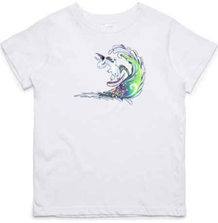 Surfing Unicorn - Kids & Youth T-Shirt - White