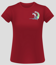 Load image into Gallery viewer, Ladies Surfing Unicorn Short Sleeve Surf T-Shirt - Red