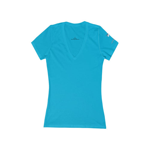 Women's Jersey Short Sleeve Deep V-Neck Tee - Print on Left Sleeve